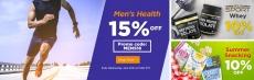מבצע פצצה! 15% הנחה על מוצרי בריאות לגבר פלוס 5% הנחה נוספים עם קוד קופון נוסף