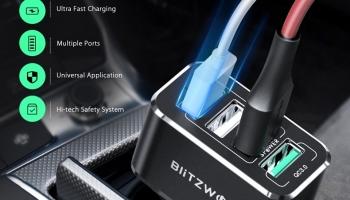 🔥מטען לרכב BlitzWolf® BW-SD3 50W 4 USB Ports QC3.0 Fast Charging Car Charger🔥