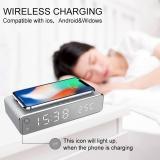 שעון מעורר עם טעינה אלחוטית – USB Digital LED Desk Alarm Clock With Thermometer Wireless Charger